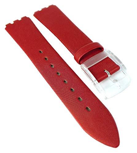 HIRSCH Correa de reloj  mezcla de piel y textil rojo  brillo sedoso  hebilla   longitud normal   36594