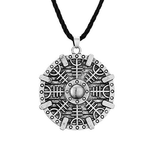 Chereda Collar con colgante de escudo vikingo con Yelmo de Awe para hombres Valknut Amuleto Joyería Punk Masculino Mujeres Gargantilla Regalo