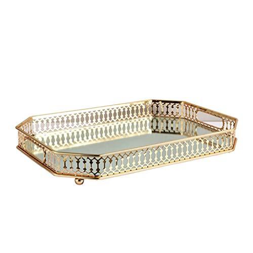 Joocyee Bandeja de tocador, Bandeja Decorativa con Base Cuadrada de Metal y Espejo para encimera, Bandeja de Metal con Espejo Mesa de Centro de Escritorio, Dorado