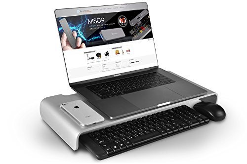 SilverStone SST-MR01S - Ergonomischer Aluminium Monitor-Erhöhung für Computer-Monitore bis max. 27