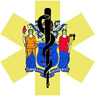 New Jersey State Shaped EMT Flag Sticker FA Graphix Vinyl Decal Die Cut EMS Paramedic NJ - 3.98 Wide