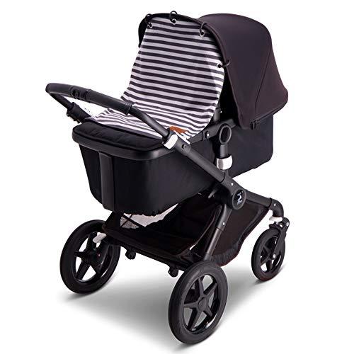 Baby Wallaby Parasol para la mayoría de carritos, cochecitos y carros, toldo, accesorios para bebé, 52 x 57 cm (rayas gris)