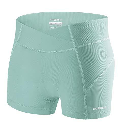 INBIKE Culotes De Ciclismo para Mujer Ropa Interior Pantalones Cortos Bicicleta con Badana Gel(Verde,L)