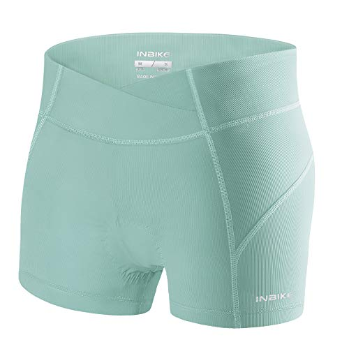INBIKE Cycling Shorts Padded Womens Mountain Bike for Women Bicycle Underwear Ladies Bikes Briefs Clothes Riding Cycle Leggings Sports Jersey Gloves Biking Tights Girls Green S