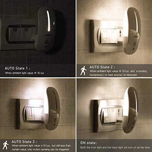 Sensky Motion Sensor Night Light Eye Friendly Front Low Light and Back Bright Light Design Night Lights for Bathroom Hallway (Warm White)