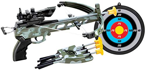PowerTRC Deluxe Military Action Crossbow Toy | Kids Target Archery Crossbow with Scope and Arrow Toy