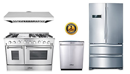 Thor Kitchen 4-Piece Bundle with 48' 6 Burner Stainless Steel Gas Range, 48' Under Cabinet Range Hood, 36' Franch Door Fridge and 24' Dishwasher