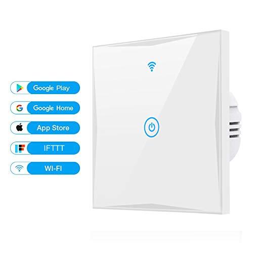 Alexa Smart Lichtschalter, SAIHAM 1-Weg-Wifi-In-Wall-Schalter arbeitet mit Amazon Alexa und Google Home, Timing-Funktion mit gehärtetem Glas Touchscreen, Steuern Sie Ihre Geräte von überall (1-weg)