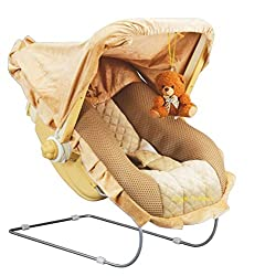 Goyal's 12 in 1 Premium Musical Baby Feeding Swing Rocker Carry Cot Cum Bouncer with Mosquito Net and Storage Box (Brown),Goyal's