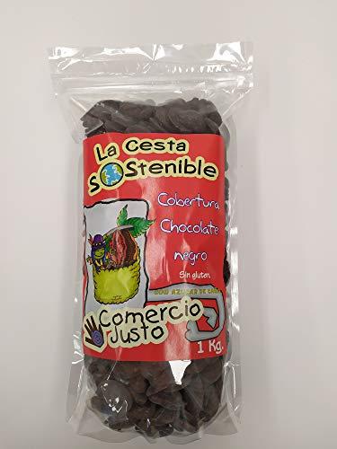 2 UNIDADES DE 1KG DE COBERTURA DE CHOCOLATE NEGRO 55% DE CACAO DE COMERCIO JUSTO(FAIR TRADE) LA CESTA SOSTENIBLE.