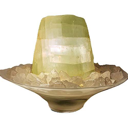 Troester\'s Brunnenwelt Calcit-Brunnen Nordlicht mit Pumpe, Licht und Bergkristall-Chips, Quellstein aus echtem Calcit, Tischbrunnen für zu Hause