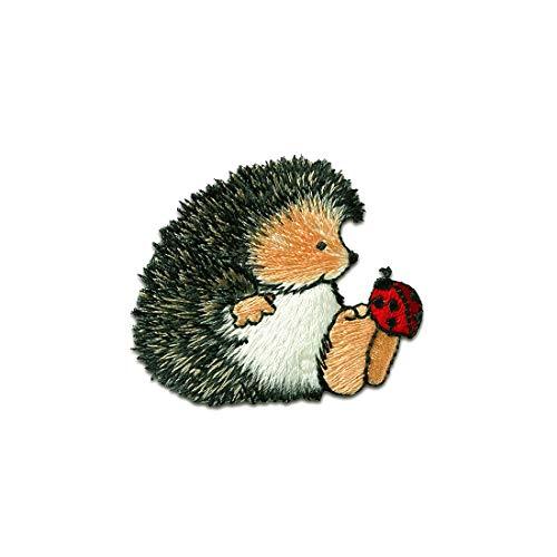 Aufnäher/Bügelbild - Margaret Sherry Igel mit Käfer Tier Kinder -grau - 4,6x5,5cm - Patch Aufbügler Applikationen zum aufbügeln Applikation Patches Flicken