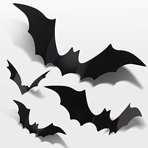 3D Decorative Bats - SOOKIN 36PCS Halloween Bats Wall Stickers 3D Bats Stickers Bat Decals Decorative Scary Bats - for DIY Home Window Decor Halloween Party Supplies
