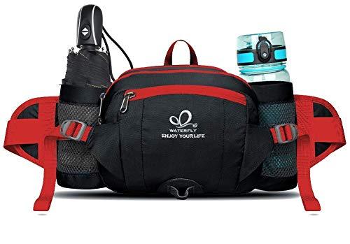 WATERFLY Gürteltasche Bauchtasche mit Flaschenhalter Handyfach Wasserdicht Multifunktionale Reise Hüfttasche für Outdoor Sport Camping Ausflug Jogging Wandern Klettern Radfahren Trekking
