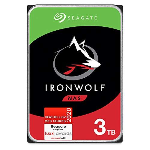 Seagate IronWolf, NAS interne Festplatte 3 TB HDD, 3.5 Zoll, 5900 U/Min, CMR, 64 MB Cache, SATA 6 GB/s, silber, FFP, inkl. 3 Jahre Rescue Service, Modellnr.: ST3000VNZ07