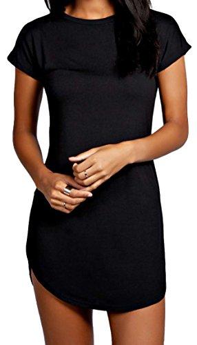 Re Tech UK - Damen T-Shirt-Kleid - figurbetont & hüftlang - geschwungener Saum - Stretchmaterial - Schwarz - 34-36