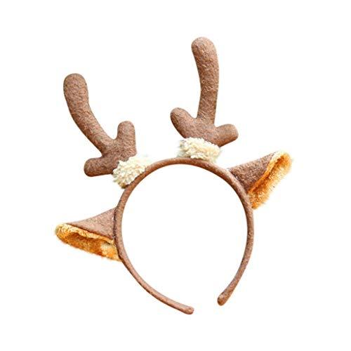 Dasongff huisdier kerstkostuum hoofdtooi haarband Kerstmis eland gewei haarband kerstmuts kostuum voor hond kat rendier gewei eland oren haaraccessoires haarband hoofdband 1 pc bruin