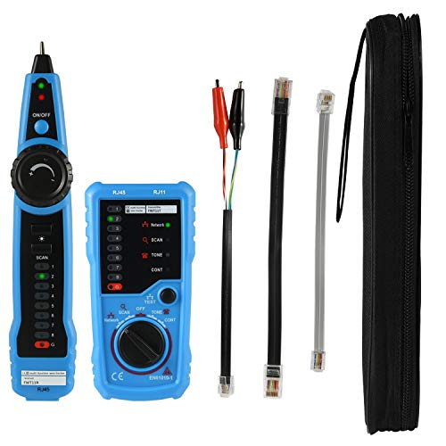 Professional Wire Tracker, Multi-Functional Ethernet Network Cable Tester for LAN Telephone Line RJ45 RJ11 Cables Metal Wires, Wire Tracer Cable Hunting Continuity Checking with Toolkit