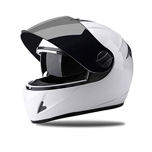 FLY® Casque, Casque Électrique Moto - Casque Coupe-vent Et Chaud, Saison, Pour Hommes Et Femmes (Couleur : Blanc)