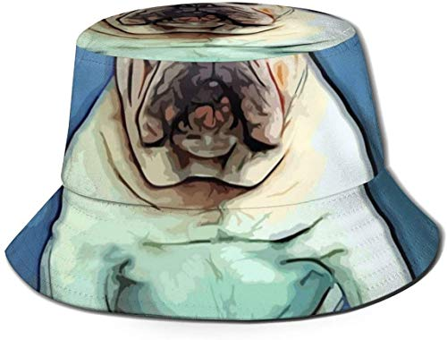 BONRI Flat Top atmungsaktive Eimer Hüte Unisex Zebras Eimer Hut Sommer Fischerhut-Bulldogge Welpe Art-One Size