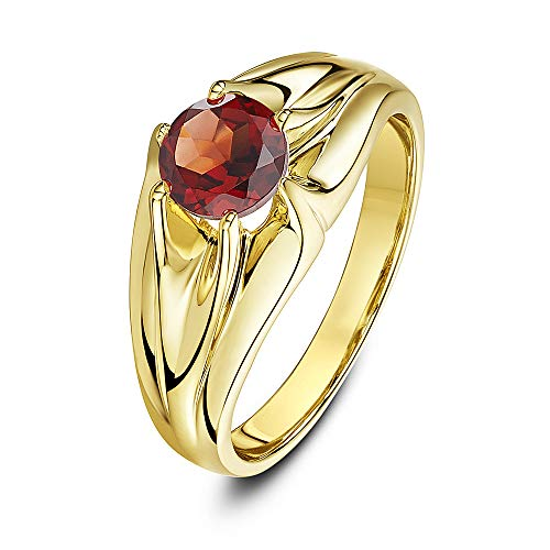 Theia Women's 9 ct Yellow Gold, Round Garnet Stone Set in a Raised Branched Designed Prong Setting Ring, Size T