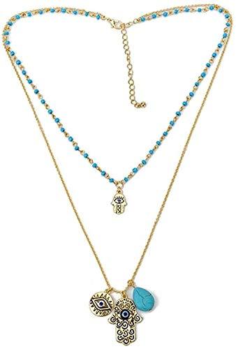 Yiffshunl Collar Moda Mujer Joyería Fina Collar Fácil Collares Azul Malvado Y Perla Piedra Verde Perla