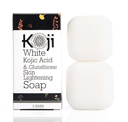 Koji White Kojic Acid & Glutathione Skin Brightening Soap (2.82 oz / 2 Bars) – Reduce Acne Scars, Wrinkles Elimination, Dark Spots And Freckles