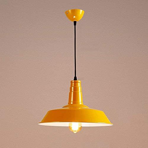 SHUHD Coloree Metal Retro Colgante luz iluminación Industrial E27 Base for Restaurante, Bar, Club, iluminación de Gimnasia, araña Decorativa Minimalista Moderna (Color: Negro, Tamaño: 36 * 25cm)