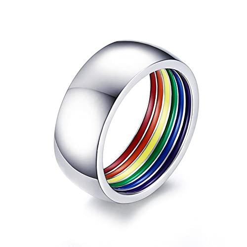 ZiFei Ringe 8MM Minimalist Style Schwarz Gold Silber Farbe Edelstahl LGBT Pride Ringe für Frauen Männer Regenbogen Schmuck,Silber,7