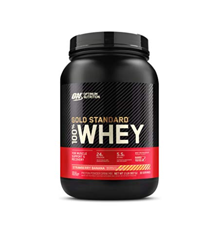 Optimum Nutrition Gold Standard 100% Whey Protein Powder, Strawberry Banana, 2 Pound (Packaging May Vary)