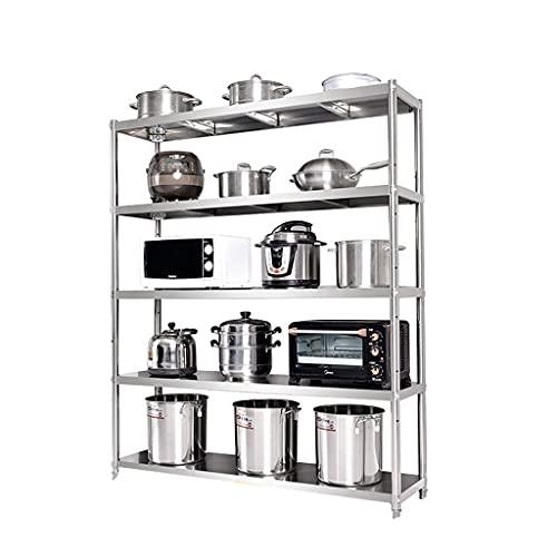Five-tier kitchen storage rack, 5-tier storage rack, floor-to-ceiling household shelf 100 cm long * 40 cm wide * 180 cm high silver