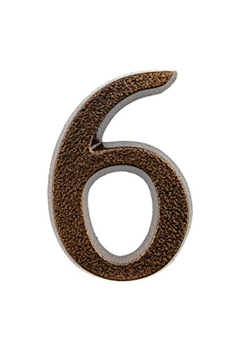 HUBER número de casa 6/9 de aluminio 10 cm I números de casa para puerta - placas de número de casa en noble diseño de cobre antiguo 3D, con recubrimiento de polvo