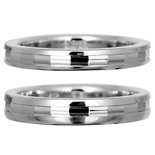 [ココカル]cococaru フルエタニティリング カットデザイン ペアリング 2本セット K10 ホワイトゴールド マリッジリング 結婚指輪 日本製 (レディースサイズ7号 メンズサイズ19号)