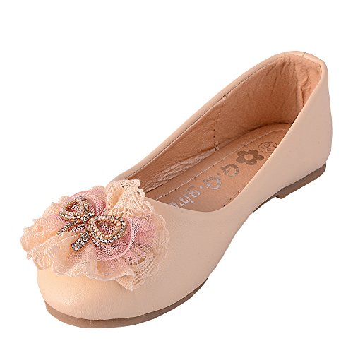 Dressy Daisy Girls' Lace Diamante Wedding Flower Ballet Slipper Ballerina Shoes Size US 10.5 Ivory
