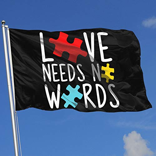 JQDAPaflag Love Needs No Words Breeze Flag 3 X 5-100% Polyester Single Layer Translucent Flags 90 X 150CM - Banner 3