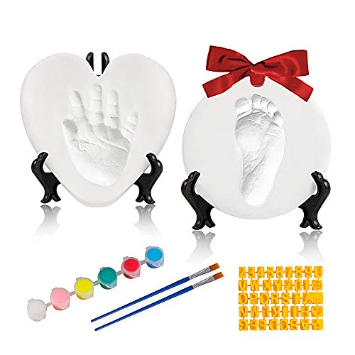 Baby Handprint Footprint Keepsake Ornament Kit-Luxury Clay Casting Kit for Newborn Gifts (2 Easels, 6 Paints),Baby First Christmas Gifts with Personalized Tools & Display Stands.