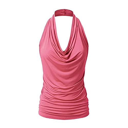 Camisa De Base Nueva Camiseta Sin Mangas De Jersey De Color SóLido Camiseta De Chaleco Sexy Sin Espalda Drapeada para Mujer