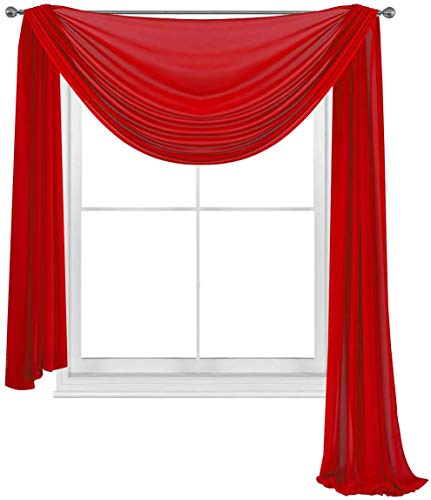 Empire Home 216' Long Sheer Curtain Valance Window/Scarf Great Value 25 Colors (Red)