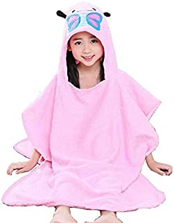 Kids Hooded Bath Towels; Plush Absorbent Animal Face Baby Bath Towels with Hood (Pink Butterfly, M)