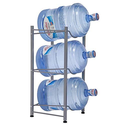 RZChome Water Bottle Storage Rack, 3-Tier Water Cooler Jug Rack Stainless Steel 5 Gallon Water Bottle Holder Heavy Duty Stackable Water Storage Shelves Organizer
