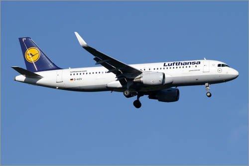 Poster 100 x 70 cm: Lufthansa Airbus A320-200 Sharklet von Luca Nicolotti/Stocktrek Images - hochwertiger Kunstdruck, neues Kunstposter