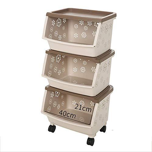 8bayfa, opbergwagen met mandje, multifunctionele trolley, organizer, wagen, voor keuken, make-up, badkamer, kantoor, kaki