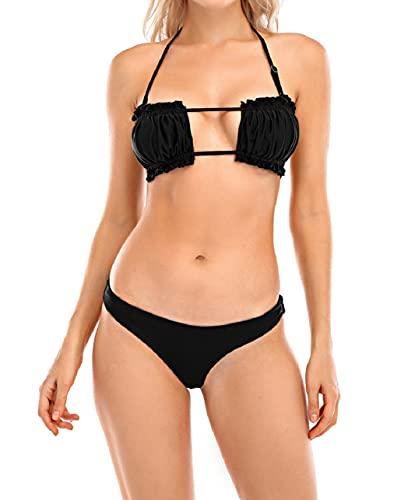 Yuson Girl Bikini Brasilian Donna Bandea, Sexy Cutout Halter Bikini Push up, Costume da Bagno Bikini a Due Pezzi, Sexy Slip Thong Bottom Beachwear Swimwear