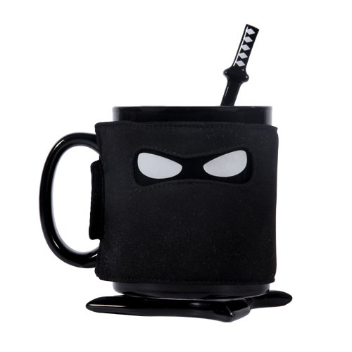 thumbs Up! - Ninja Mug -Tasse Céramique avec masque, dessous-de-bouteille de étoiles Ninja  et cuillère de samouraï - noir - 0001212