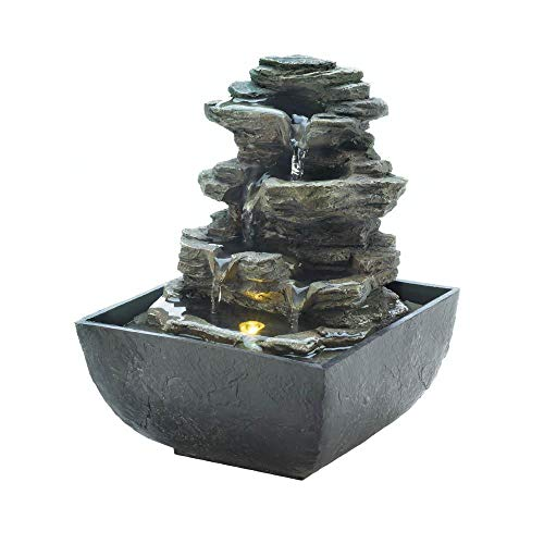 Dayanaprincess Indoor Home Office Tiered Rock Formation Desk Tabletop Fountain Statue Decor Standing Waterfall Decoration Relaxation Meditation Elegant Soothing