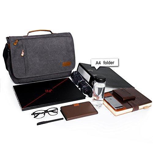 Estarer 15.6inch Laptop Messenger Bag, Water Resistant Canvas