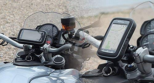 ssms Black Moterbike Waterproof Zip Pouch Mobile Holder|Bike Rear View Mirror Phone Mount|Poly-Carbonate Plastic 360* Rotation Adjustable Size Upto 7