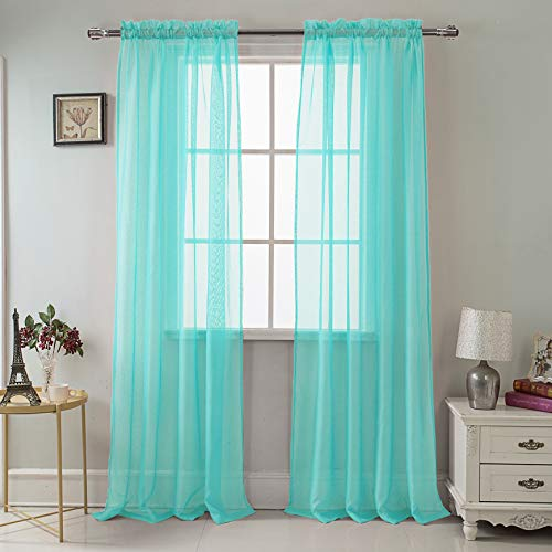 RT Designers Collection Celine Sheer 55 x 90 in. Rod Pocket Curtain Panel, Aqua