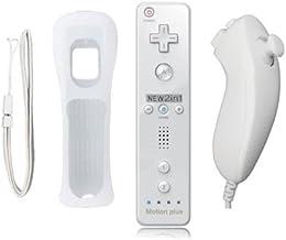 BIGFOX 2 en 1 Mando Plus con Motion Plus y Nunchunk para Nintendo Wii / Wii U (Opcional a Seis Colores) y Funda de Silicona - Blanco