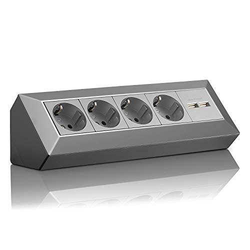 Enchufe de esquina Schuko, USB para cocina, oficina, taller, regleta para cocina de encimera, enchufe de montaje o enchufe de base, sin cable, plástico grande: 4 F, 2 USB, color gris